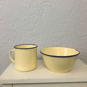 Pottery barn bowl mug enamelware country metal
